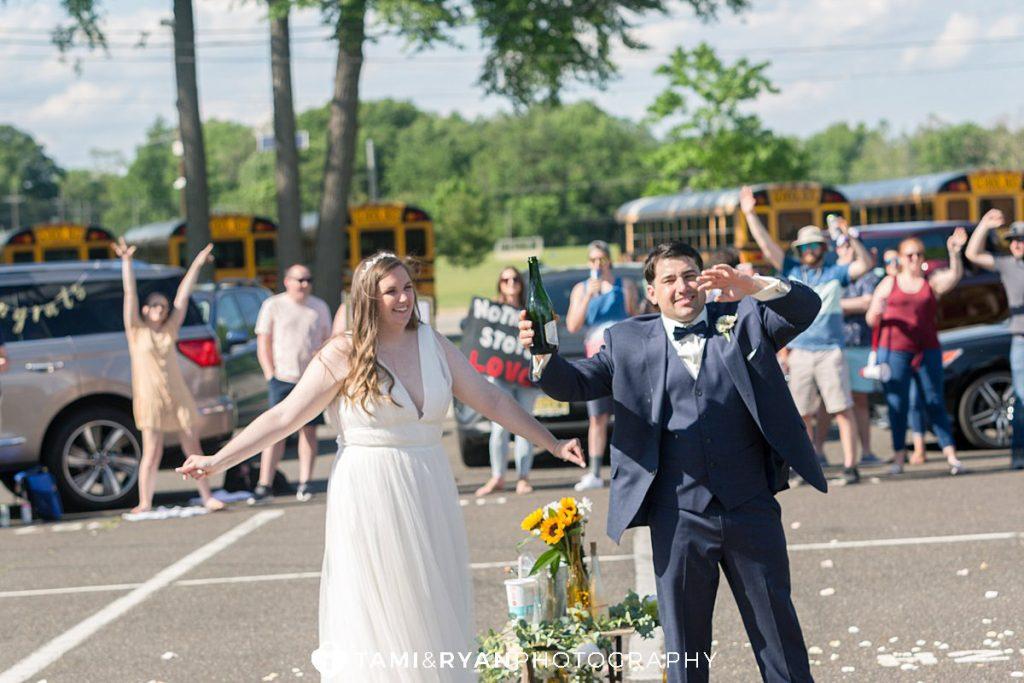 covid-19 wedding celebration bride groom