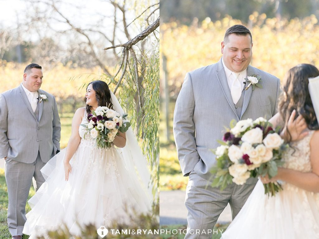 bride groom first look willow creek winery cape may